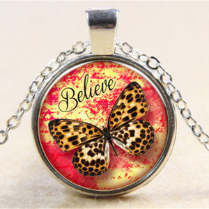 Jewelry - Silver Butterfly Glass Cabochon Pendant Necklace!